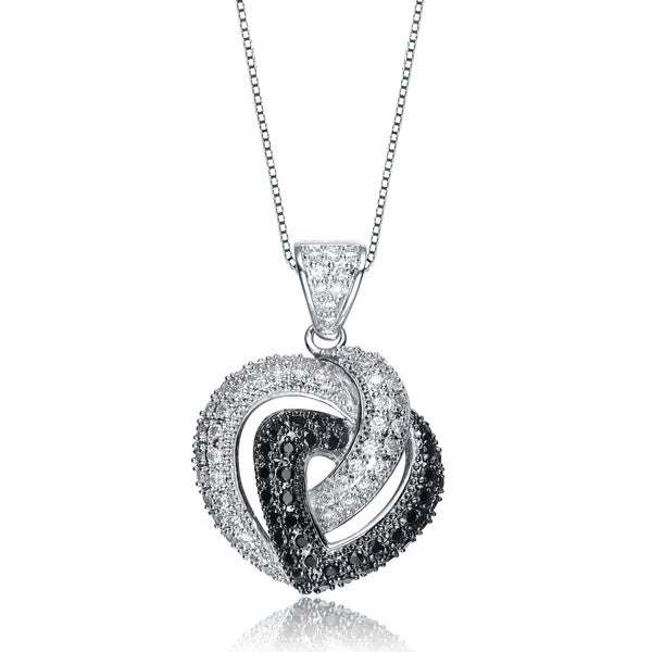 Collette Z Silver White and Black Cubic Zirconia Double Heart Outline Necklace