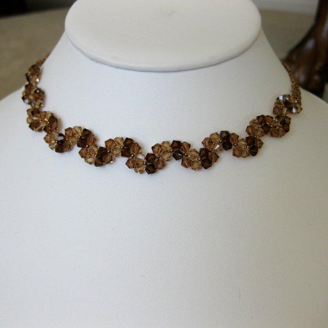 Handmade Stainless Steel Elegant Brown Crystal Necklace (USA)