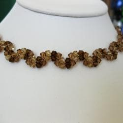 Handmade Stainless Steel Elegant Brown Crystal Necklace (USA) - Thumbnail 1
