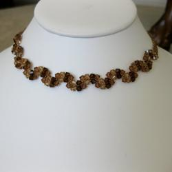 Handmade Stainless Steel Elegant Brown Crystal Necklace (USA)
