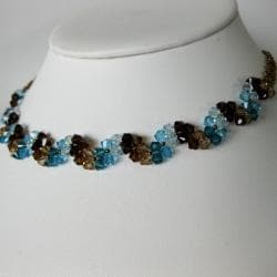 Handmade Stainless Steel Elegant Blue Crystal Necklace (USA) - Thumbnail 1