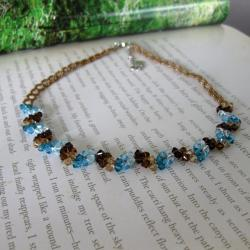 Stainless Steel Elegant Blue Crystal Necklace (USA)