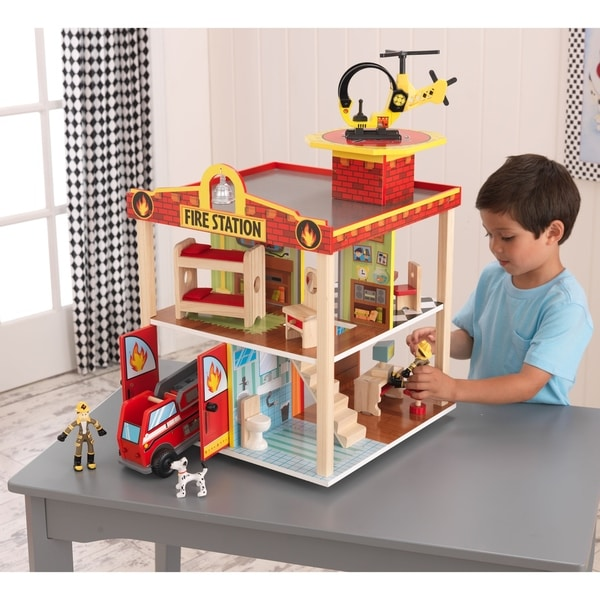 Shop Kidkraft Fire Station Set Free Shipping Today Overstock