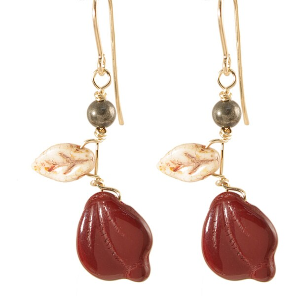 14k Gold Fill Deep Burgundy 'Vines of Tenacity' Earrings
