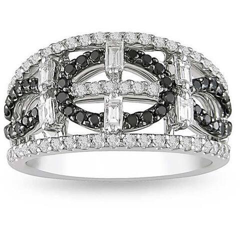 Miadora 18k White Gold 1ct TDW Black and White Geometric Diamond Ring