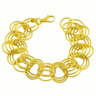 GoldKist 18k Gold over Sterling Silver 8-inch Fancy Rolo Bracelet