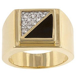 Kate Bissett Brass and Black Enamel Men's Clear Cubic Zirconia Ring