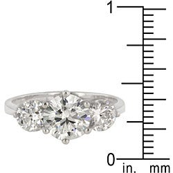 Kate Bissett Sterling Silver Cubic Zirconia 3-stone Cocktail Ring