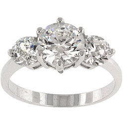 Kate Bissett Sterling Silver Cubic Zirconia 3-stone Cocktail Ring - Clear