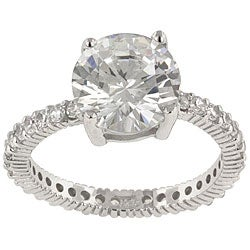 Kate Bissett Silvertone Brass Clear Cubic Zirconia Cocktail Ring