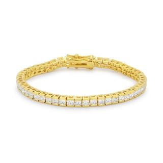 Kate Bissett Goldtone Brass Emerald-cut Clear Cubic Zirconia Tennis Bracelet