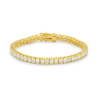 Kate Bissett Goldtone Brass Emerald-cut Clear Cubic Zirconia Tennis Bracelet