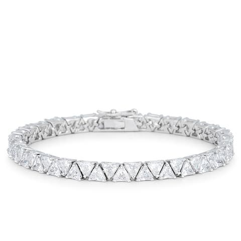 Kate Bissett Silvertone Brass Trillion-cut Clear Cubic Zirconia Tennis Bracelet