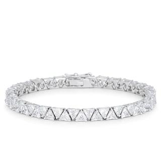 Kate Bissett Silvertone Brass Trillion-cut Clear Cubic Zirconia Tennis Bracelet