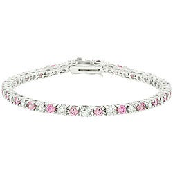Kate Bissett Highly Polished Silvertone Brass Clear and Pink Cubic Zirconia Tennis Bracelet