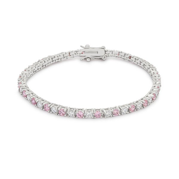 Kate Bissett Highly Polished Silvertone Br Clear And Pink Cubic Zirconia Tennis Bracelet