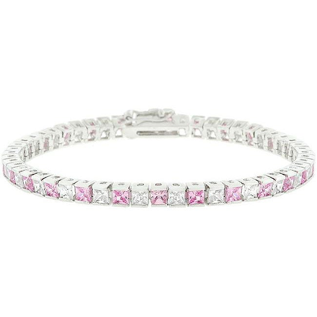 Kate Bissett Silvertone Br Clear And Pink Cubic Zirconia Tennis Bracelet