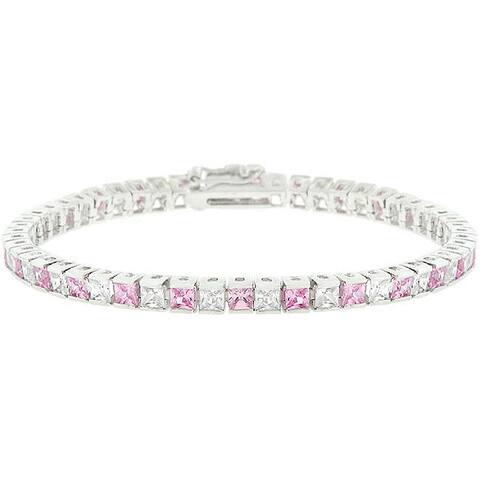 Kate Bissett Silvertone Brass Clear and Pink Cubic Zirconia Tennis Bracelet