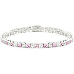 Kate Bissett Silvertone Brass Clear and Pink Cubic Zirconia Tennis Bracelet