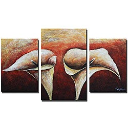 'Lonely Lilies Hand Painted' 3-piece Art Set
