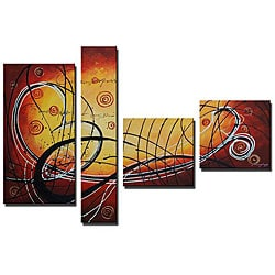 'Roller Coaster Hand Painted' 4-piece Art Set