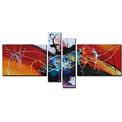 'Peacock Explosion Hand Painted' 4-piece Art Set