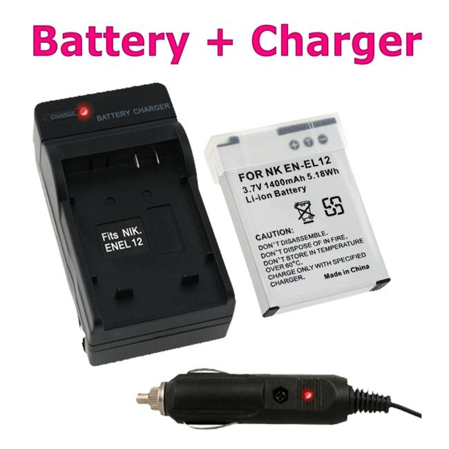 Insten Compact Battery Charger Set/ Lithuim-ion Battery for Nikon EN-EL12 - Thumbnail 0