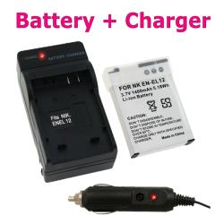 Insten Compact Battery Charger Set/ Lithuim-ion Battery for Nikon EN-EL12
