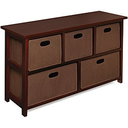 Children's Wooden Cherry Storage Cabinet with Baskets