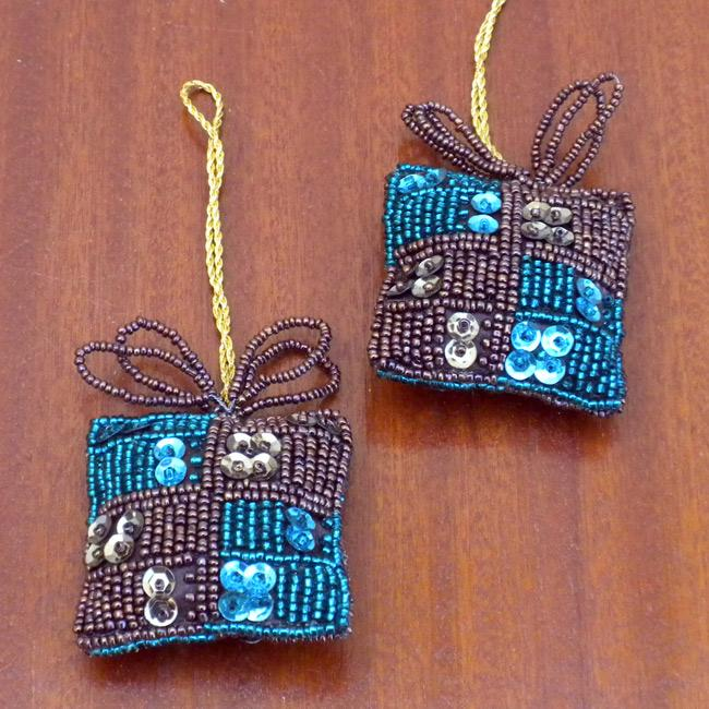 Set of 2 Turquoise Gift-shaped Holiday Ornaments (India)