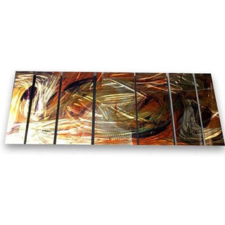 Ash Carl 'Warm Movement' 7-panel Metal Wall Art