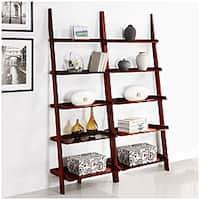 Cherry Five Tier 2 Piece Leaning Ladder Shelf Set