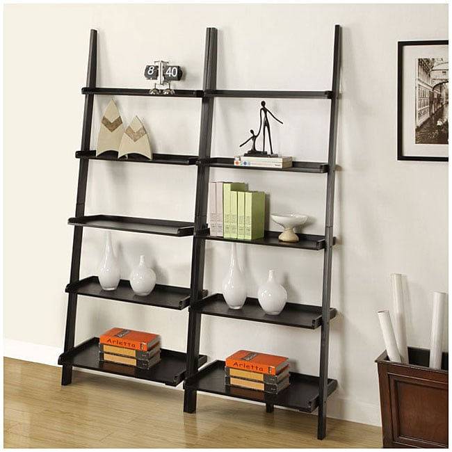 Black Five Tier 2 Piece Leaning Ladder Shelf Set Free