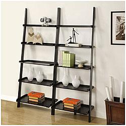 Black Five-tier 2-piece Leaning Ladder Shelf Set