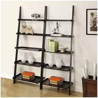 Black 5 Tier Leaning Ladder Shelf Set Of 3 Free