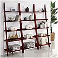 Cherry Five-tier 3-piece Leaning Ladder Shelf Set