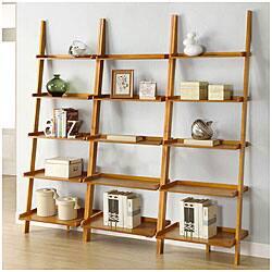 Oak Five Tier 3 Piece Leaning Ladder Shelf Set