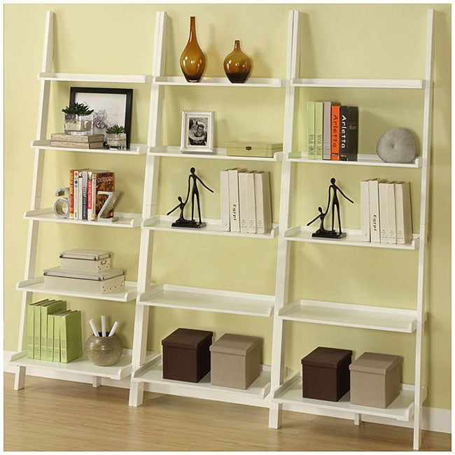 White Five-tier 3-piece Leaning Ladder Shelf Set