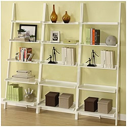 White Five-tier 3-piece Leaning Ladder Shelf Set