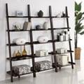 Walnut Five-tier 3-piece Leaning Ladder Shelf Set
