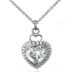 Polished Stainless-Steel Cubic Zirconia Heart Necklace