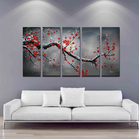 'Winter Plum' Hand Painted 5-piece Oil Canvas Art Set