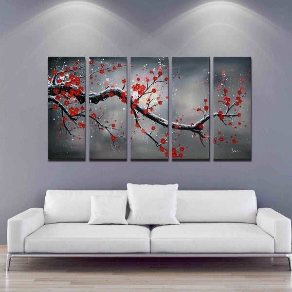 shop 39 winter plum 39 hand painted 5 piece oil canvas art set free shipping today overstock. Black Bedroom Furniture Sets. Home Design Ideas