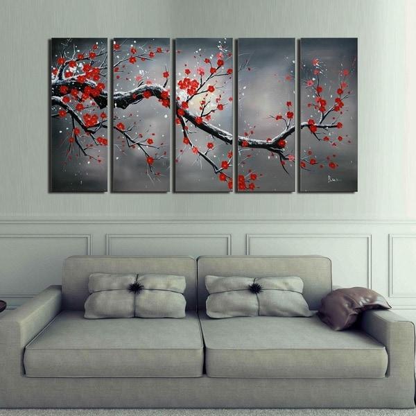 'Winter Plum' Hand Painted 5-piece Oil Canvas Art Set