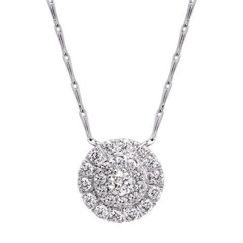 14k White Gold 1/2ct TDW Diamond Cluster Halo Necklace