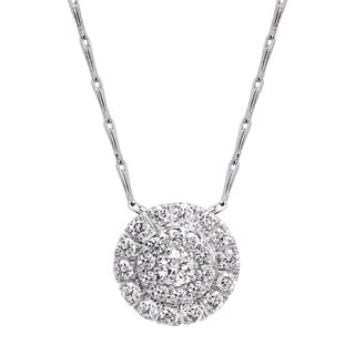 Beverly Hills Charm 14k White Gold 1/2ct TDW Diamond Cluster Halo Necklace