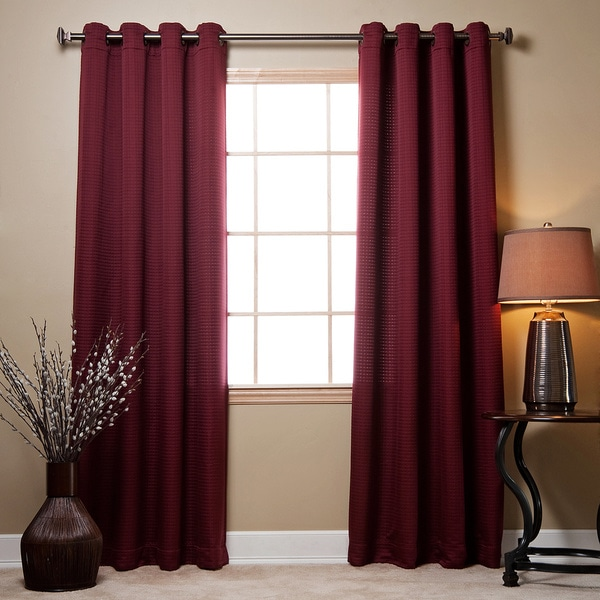 Aurora Home Square Quilted Grommet Top 84-inch Curtain Pair