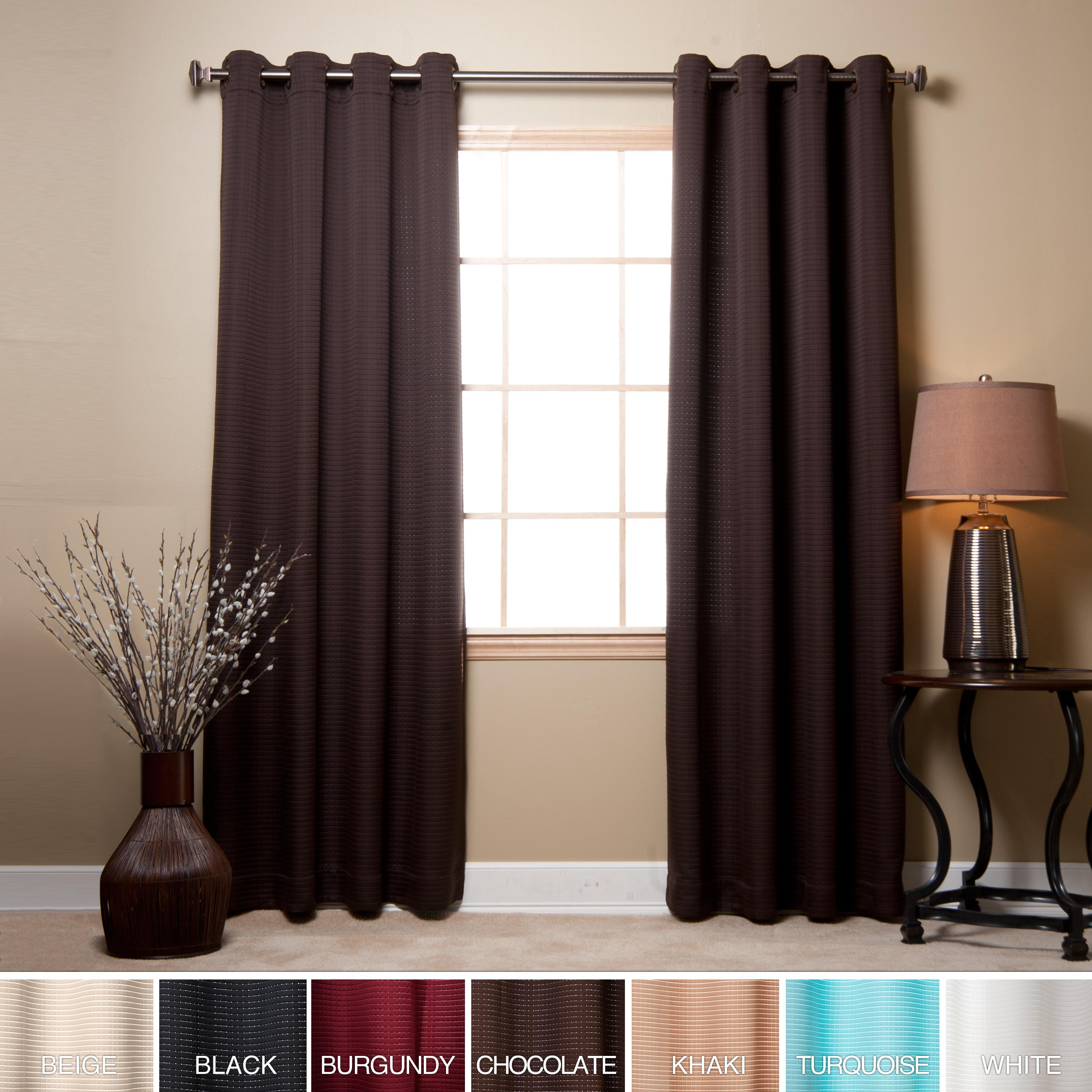 Aurora Home Square Quilted Grommet Top 95-inch Curtain Pair