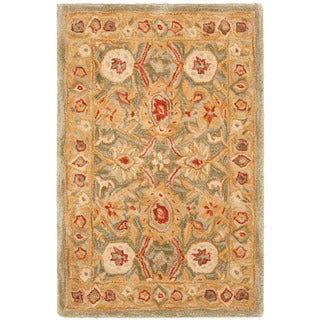 Safavieh Handmade Anatolia Oriental Sage Green/ Ivory Hand-spun Wool Rug (2' x 3')
