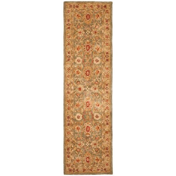 Safavieh Handmade Anatolia Oriental Sage Green/ Ivory Hand-spun Wool Runner (2'3 x 12')